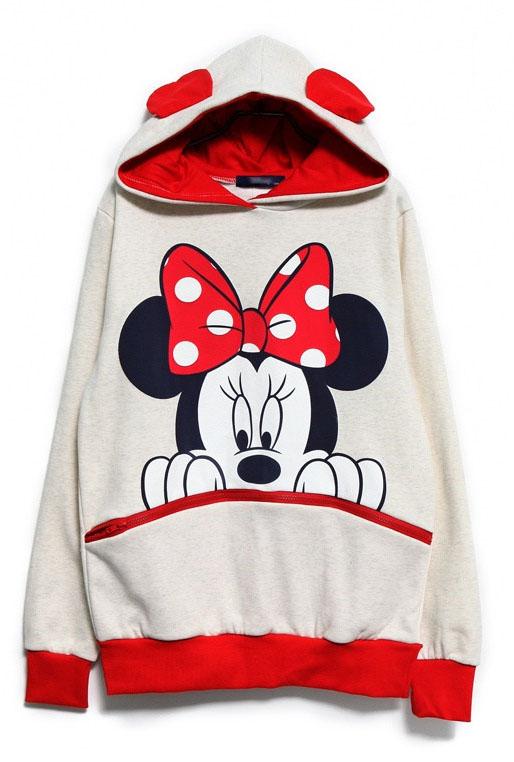 Damen Micky Maus / Minni Maus Kapuzen Pullover SweatShirt Hoodie Jacke Top Ohren | eBay