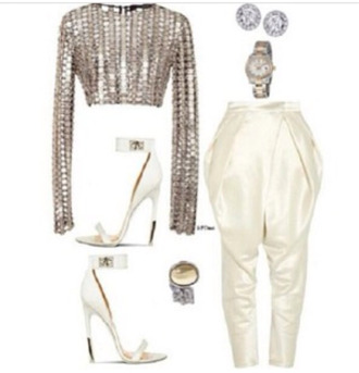 blouse white pants sequincroptop white crop tops silver glitter high waisted stilettos diamonds sequins crop tops