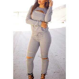 jumpsuit grey rose wholesale casual chic streetwear