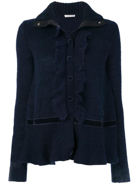 Moncler - frill front cardigan - women - Polyamide/Cashmere/Mohair/Wool - XS, Blue, Polyamide/Cashmere/Mohair/Wool