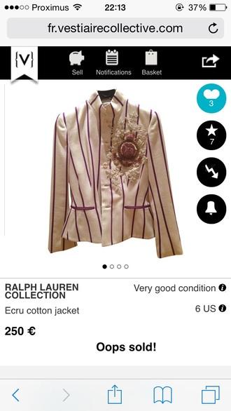 jacket ralph lauren striped jacket gossip girl serena van der woodsen