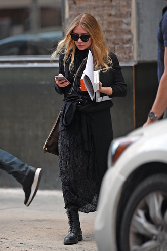 olsen sisters blogger sunglasses cardigan dress black dress all black everything boots black boots ashley olsen
