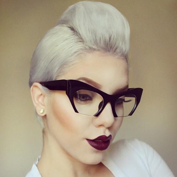 sunglasses shades black cat eye clear lens glasses fashion