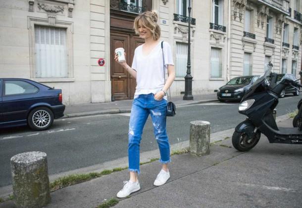 violette daily blogger jeans t-shirt shoes bag