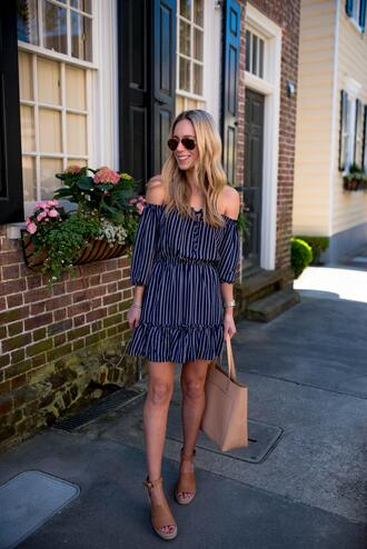 katie's bliss - a personal style blog based in nyc blogger dress bag shoes sunglasses jewels tote bag off the shoulder dress spring outfits striped dress