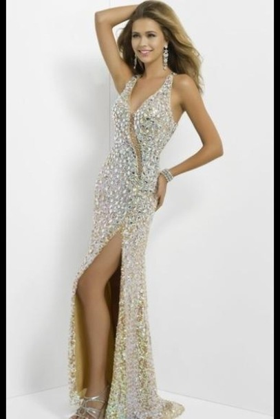 dress, prom, prom dress, sequin prom dress, sequins, diamonds, gold ...