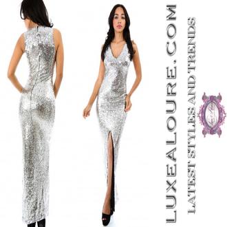 sequins silver dress sequin dress silver v cut neck dress v cut slit dress