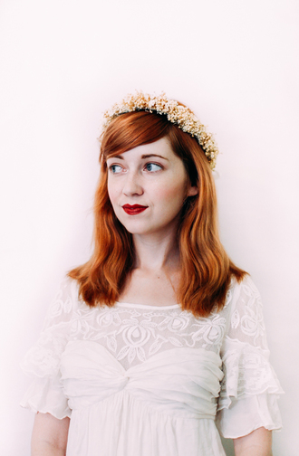 the clothes blogger make-up flower crown white dress hipster wedding