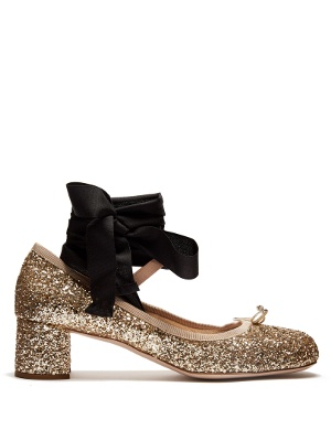 Glitter block-heel ballet pumps | Miu Miu | MATCHESFASHION.COM US
