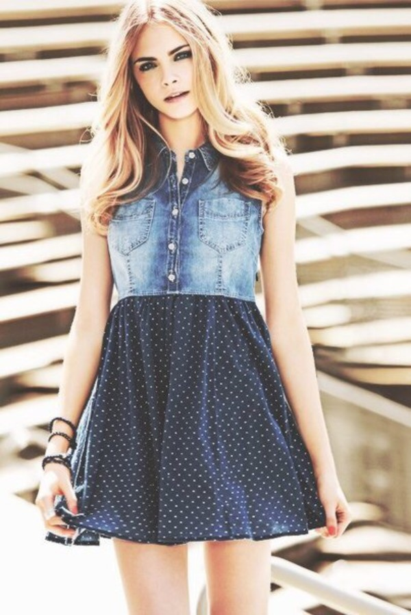 dress, cara delevingne, polka dots, jeans, summer dress, summer outfits,  blond hair, breclets , Wheretoget