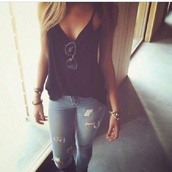 blouse,jeans,tank top,shirt,black,flowy,summer,black t-shirt,blue skinny jeans,skinny jeans,cropped jeans,denim,black tank top,top,sunglasses,black sunglasses,blonde hair,jacket,jewels,pants,t-shirt,loose,ripped jeans,tight jeans,light jeans,edgy,sexy shirt,blue shirt,casual dress,casual,neck deep,v neck,summer top,spring,make-up,sleeveless top,sleeveless,girly,fashion,style,trendy,trendsgal.com,lowcut