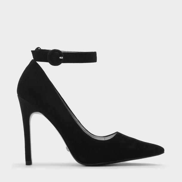 ankle strap pumps suede black shoes