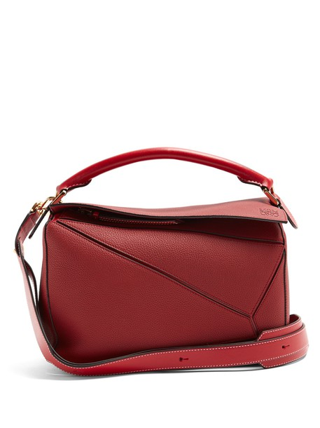 LOEWE bag leather bag leather dark dark red red