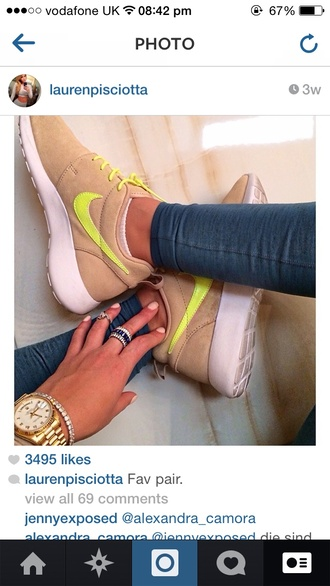 shoes nike nike running shoes trainers nike shoes womens roshe runs lauren pisciotta roshe runs tan nikes roshes yellow neon nike shoes cute shoes sports shoes running shoes teenagers tumblr on point clothes material cute hot anything nike id customized shoes anything cute