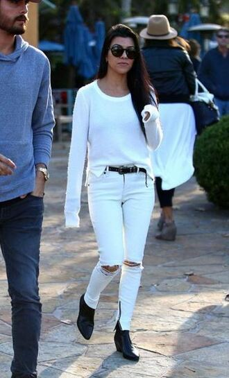 ankle boots kourtney kardashian white sweater white jeans white ripped jeans