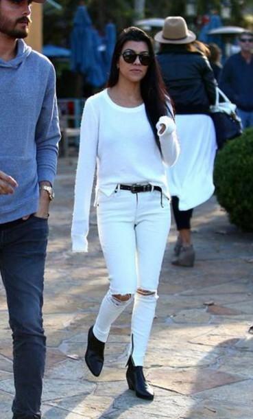 ankle boots kourtney kardashian white sweater white jeans white ripped jeans