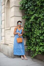 dress,sunglasses,tumblr,maxi dress,blue dress,long dress,lace dress,slip dress,bag,brown bag,sandals,flat sandals,shoes