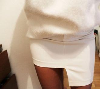 skirt white skirt white creme slits