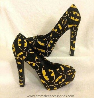 shoes batman high heels yellow black