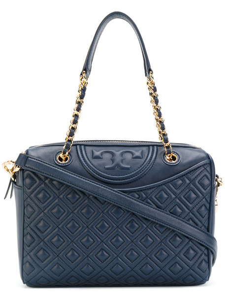 Tory Burch women quilted leather blue bag