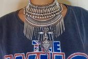 t-shirt,statement necklace,necklace,bib necklaces,jewelry,dylanlex,silver necklace,boho,boho jewelry,silver jewelry,silver,silver choker,jewels,choker necklace,bib necklace,collar necklace,bohemian