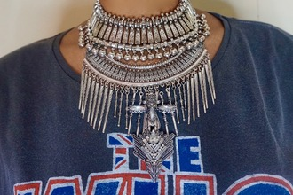t-shirt statement necklace necklace bib necklaces jewelry dylanlex silver necklace boho boho jewelry silver jewelry silver silver choker jewels choker necklace bib necklace collar necklace bohemian