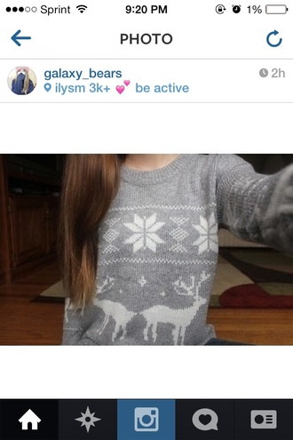 sweater grey knit deer tumblr snowflake winter outfits