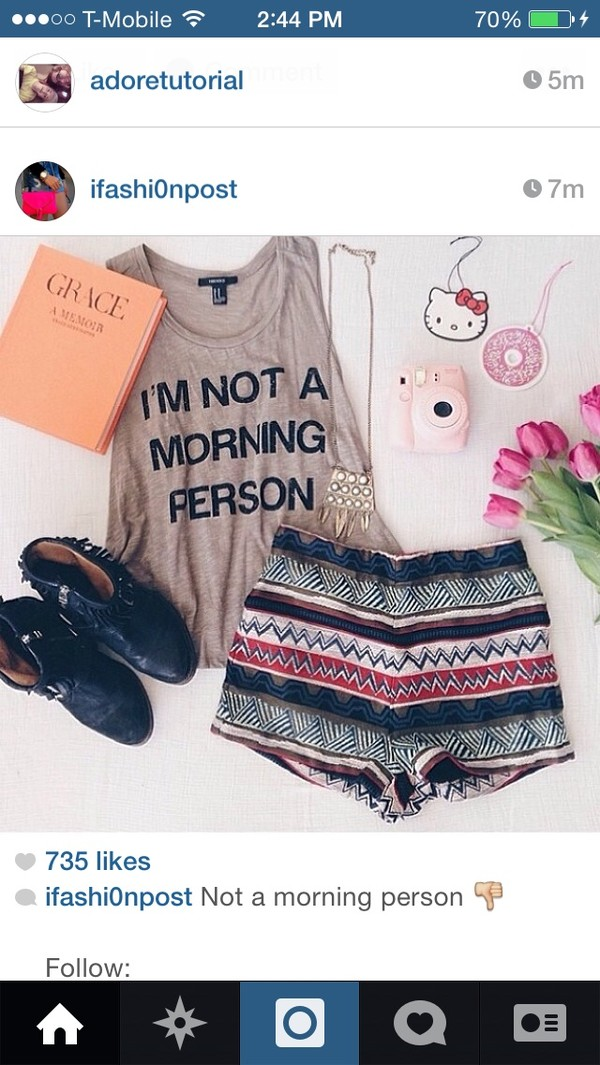 shorts tank top zigzag i'm not a morning person sandals