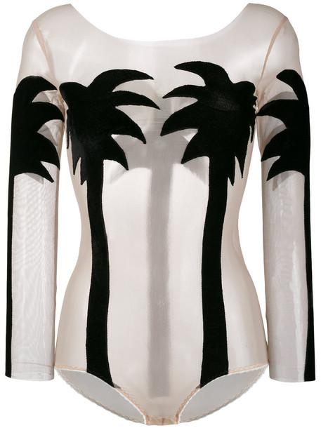 Alexia Hentsch bodysuit women spandex tree palm tree black silk velvet underwear