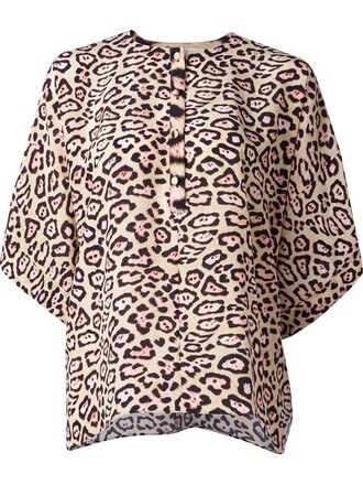 blouse print leopard print nude top