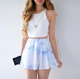 skirt multicolor pastel light blue blue