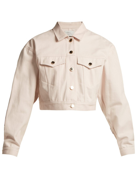 jacket denim jacket denim python leather pink