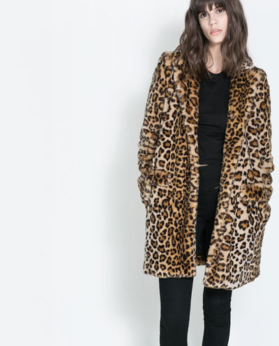 Winterjas Tijgerprint.Manteau Fausse Fourrure Leopard Manteaux Trf Zara France