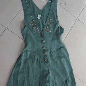 WOMENS Vintage 90s Deep V  Romper/ Deep V SLEEVELESS ROMPER/  Hunter Green Grunge Jumpsuit Playsuit shorts Dress on Wanelo
