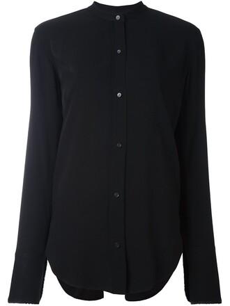 shirt open back shirt back open open back slit black top