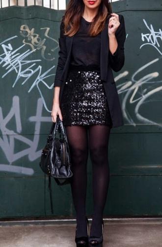 skirt black sequin mini skirt longline blazer