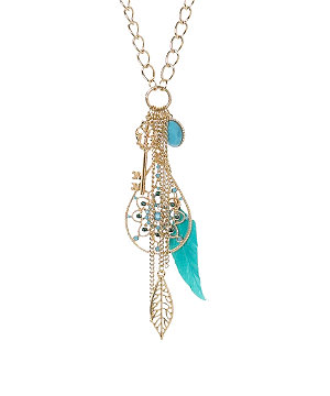 Key Feather Cluster Necklace