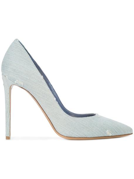 alexandre vauthier women classic pumps leather cotton blue shoes