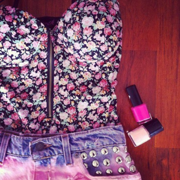 floral tank top shirt t shirt flowers blouse zip up blouse top floral strapless cup pink purple green zipper shorts flowered top t-shirt