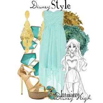 dress disney jasmine blue long dress strapless light blue gold strapless dress