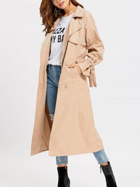 coat girly nude trendy trench coat long long coat blouse