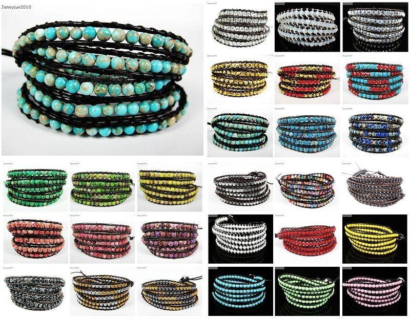 Hot Colorful Handmade Mixed Crystal and Gemstones Beads Wrap Leather Bracelet | eBay
