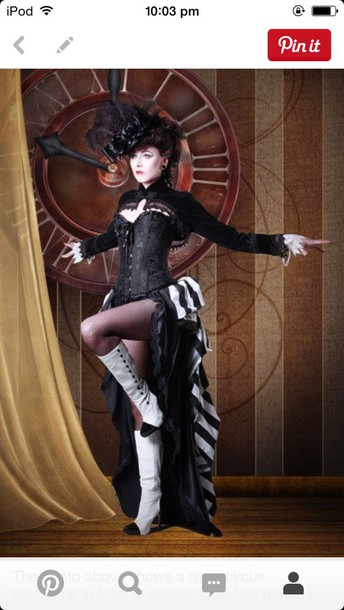 skirt black and white stripped burlesque circus night circus high low skirt