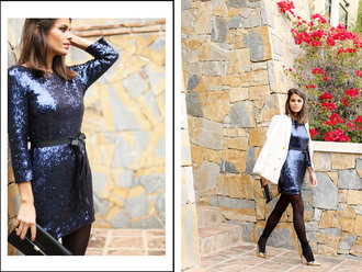 seams for a desire blogger glitter dress navy holiday dress blue dress dress jacket shoes bag