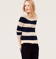 Petite Striped Textured Cotton Sweater | Loft