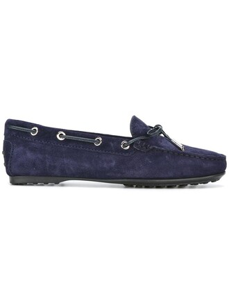 women classic loafers leather blue suede shoes
