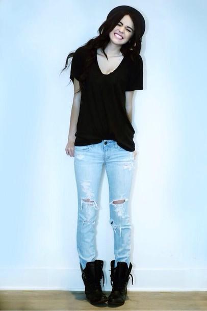 51667201cd9 jeans ripped jeans light blue shoes hat gloves hair accessory shirt black  shirt acacia brinley acacia