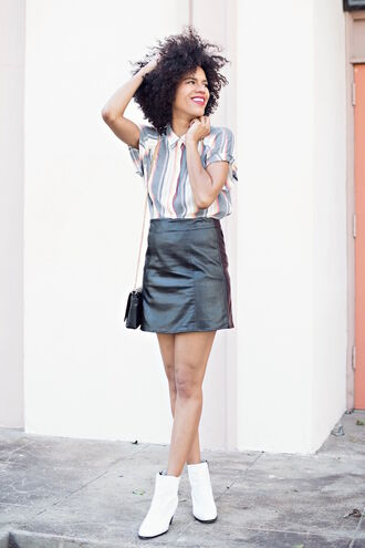 style me grasie blogger leather skirt shirt mini shoulder bag white shoes spring outfits skirt stripes striped shirt natural hair river island