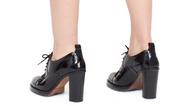 shoes,oxfords,high heels,straight heels,wide heels,lacquer,varnish,lace up heels,black,shiny,vintage,elegant,skirt