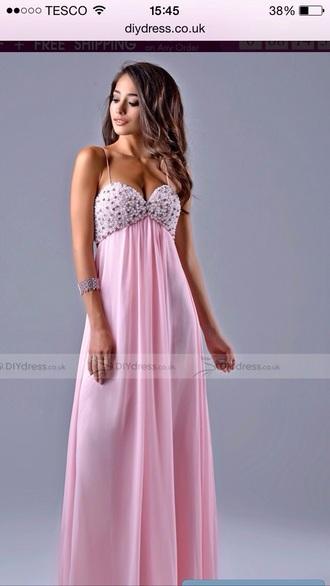 dress original dress prom dress pink beads prom